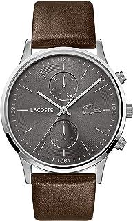 ساعة لاكوست للرجال بمينا رمادي وحزام من الجلد بلون بني - 2011066