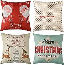 4pk Happy Holidays Print Throw Pillow Cases Christmas Gift Sofa Cushion Pillow Covers 18 x 18