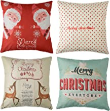 4pk Happy Holidays Print Throw Pillow Cases Christmas Gift Sofa Cushion Pillow Covers 18 x 18