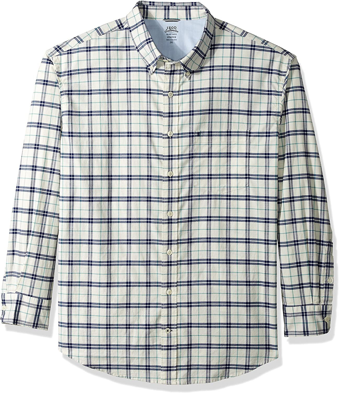 IZOD Men's Big and Tall Newport Long Sleeve Button Down Plaid Oxford Shirt