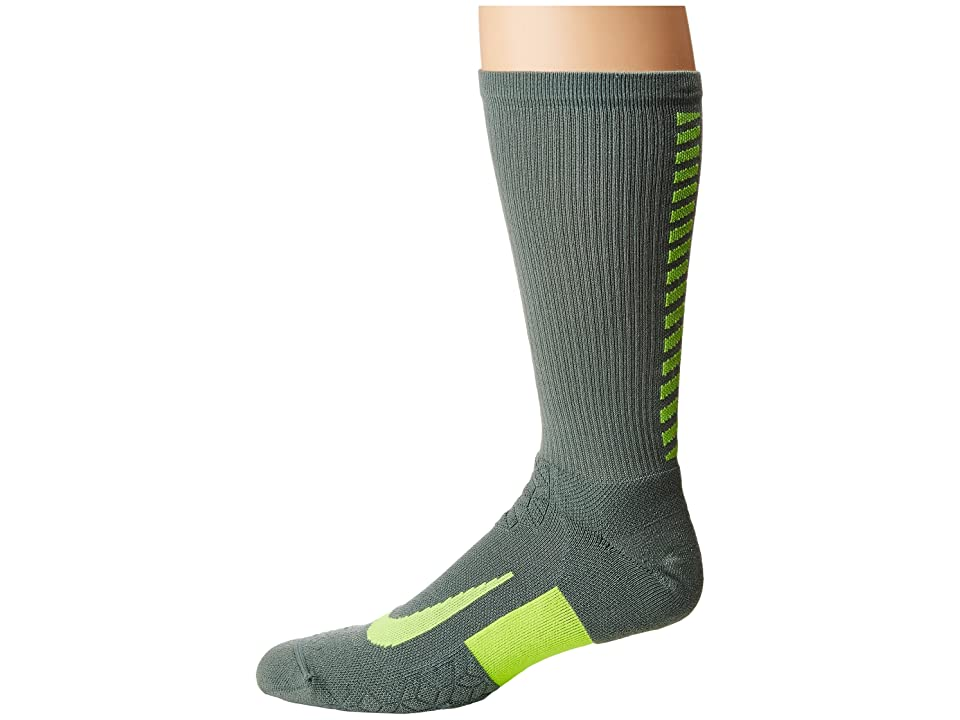 Nike Elite Running Cushion Crew Socks (Clay Green/Volt) Crew Cut Socks Shoes