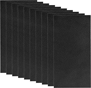 10 Pieces Leather Patches Leather Repair Kit for Couch Furniture Sofas Car Seats Handbags Jackets (Black)