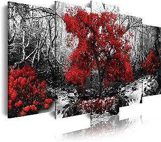 DekoArte - Cuadros Modernos Impresión de Imagen Artística Digitalizada | Lienzo Decorativo Para Tu Salón o Dormitorio | Estilo Paisaje Blanco y Negro con Árboles Rojos | 5 Piezas 150 x 80 cm