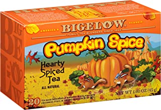 Bigelow Pumpkin Spice Tea 20-Count (Pack of 6), 120 Tea Bags Total. Caffeinated Individual Black Tea Bags, for Hot Tea or Iced Tea, Drink Plain or Sweetened with Honey or Sugar