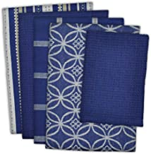 """DII Cotton Oversized Kitchen Dish Towels 18 x 28"""" and Dishcloth 13 x 13"""", Set of 5, Absorbent Washing Drying Dishtowels fo..."""