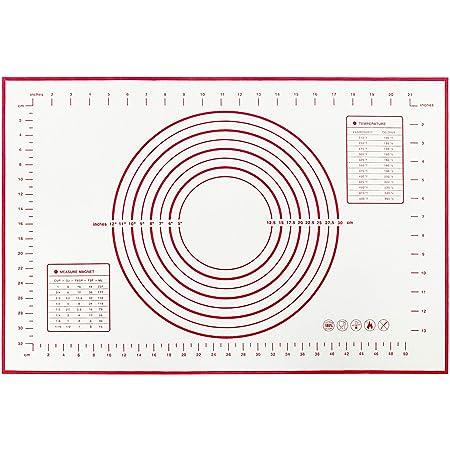 Tapis de cuisson en silicone anti-adhésif avec mesure pour fondant, tapis de comptoir extra large, tapis de cuisson pour pâte à rouler, tapis de four, tapis de croûte à tarte 40,6 x 61 cm (rouge)