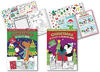 B-THERE Christmas Super Sticker Activity Book Set of 2 Xmas Activity Books, Filled with Fun Including: Dot-to-Dot, Word Se...