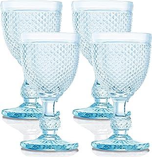 Blue Wine Glasses Set of 4 Aqua Goblets For the Lover of Vintage Glassware, Colored Wine Glasses and Pastel Wine Glasses. ...