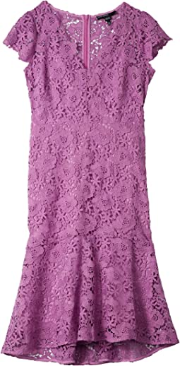 Floral Lace Flounced High-Low Dress