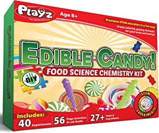 Playz Edible Candy! Food Science STEM Chemistry Kit - 40+ DIY Make Your Own Chocolates and Candy Experiments for Boy Girls...