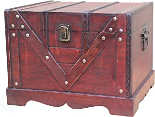 Vintiquewise Wooden Box Old Style Treasure Chest, Large