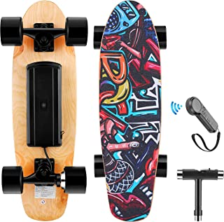 WOOKRAYS Electric Skateboard with Wireless Remote Control, 350W, Max 12.4 MPH, 7 Layers Maple E-Skateboard, 3 Speed Adjustment for Adult, Teens, and Kids