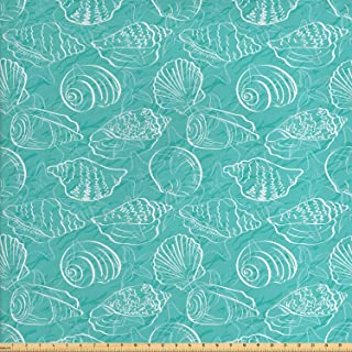 Ambesonne Sea Shells Fabric by The Yard, Doodle Style Marine Seashells Abstract Lines Background Sea Animals Pattern, Decorative Fabric for Upholstery and Home Accents, 1 Yard, Seafoam White