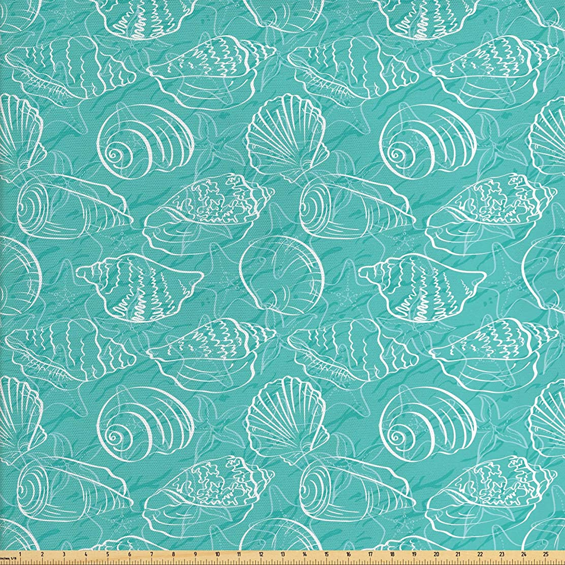 Ambesonne Sea Shells Fabric by The Yard, Doodle Style Marine Seashells Abstract Lines Background Sea Animals Pattern, Decorative Fabric for Upholstery and Home Accents, 3 Yards, Seafoam White