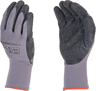 AmazonBasics Latex Coated Work Gloves, Nylon Liner Fiber, Grey, Size 9, L, 12-Pair