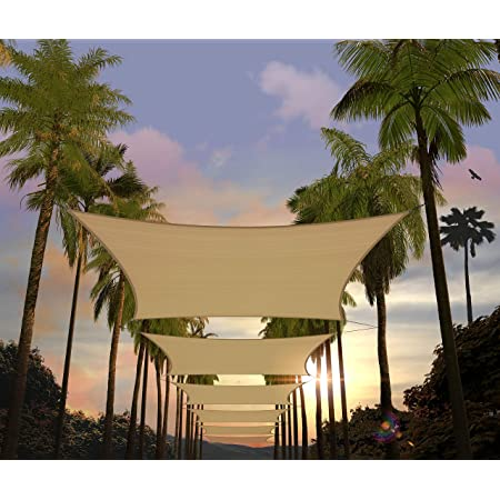 Jesasy Rectangle 10/' X 20/' Sun Shade Sail Fabric Patio Sail Perfect for Outdoor