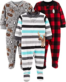 Simple Joys by Carter's Baby-Boys 3-Pack Loose Fit Flame Resistant Fleece Footed Pajamas