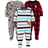 Simple Joys by Carter's Boys' 3-Pack Loose Fit Flame Resistant Fleece Footed Pajamas, Arctic...