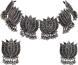 Total Fashion Oxidized Silver and Lotus Choker Necklace for Women & Girls
