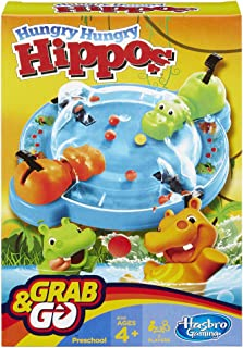 Hasbro Gaming HUNGRY HUNGRY HIPPO GRAB AND GO GAME Portable 2-Player Game; Fun Travel Game for Children Aged 4 and Up