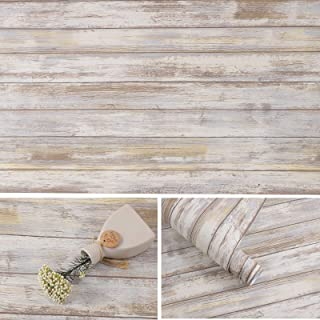 Arthome Distressed Wood Paper 43x304cm Self-Adhesive Removable Wood Peel and Stick Wallpaper Vinyl Decorative Wood Plank F...