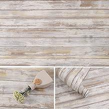 Distressed Wood Paper 17''x120'' Self-Adhesive Removable Wood Peel and Stick Wallpaper Vinyl Decorative Wood Plank Film Vi...