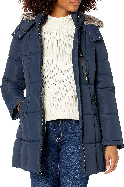 Nautica Women's Heavyweight Puffer Popular overseas 2021 model Jacket Lined with Fur Faux Ho