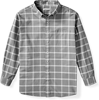 Amazon Essentials Men's Big & Tall Long-Sleeve Windowpane Pocket Shirt fit by DXL, Grey, 4XLT