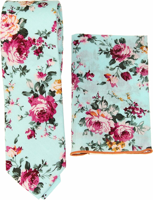 Men's Aqua Blue Floral Slim Necktie & Matching Pocket Square