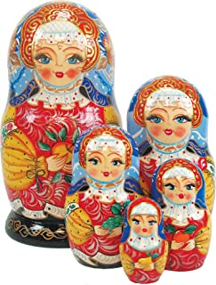 G. Debrekht Apple Girl Russian Nesting Dolls, Set of 5, Tallest Doll 6-1/2-Inch, Hand-Painted