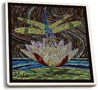Lantern Press Dragonfly - Paper Mosaic (Set of 4 Ceramic Coasters - Cork-Backed, Absorbent)