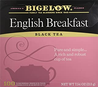 Bigelow English Breakfast Black Tea Bags, 100 Count Box Caffeinated Black Tea