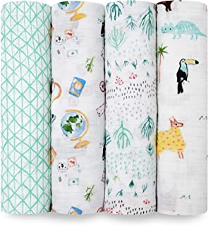 aden + anais Around The World Classic Swaddles 4 Pack, Multi, 4 Count
