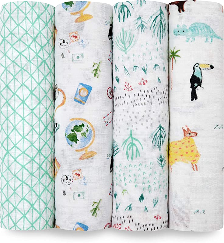 Aden Anais Swaddle Blanket Boutique Muslin Blankets For Girls Boys Baby Receiving Swaddles Ideal Newborn Infant Swaddling Set Perfect Shower Gifts 4 Pack Around The World
