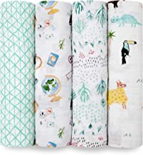 aden + anais Swaddle Blanket   Boutique Muslin Blankets for Girls & Boys   Baby Receiving Swaddles   Ideal Newborn & Infant Swaddling Set   Perfect Shower Gifts, 4 Pack, Around the World