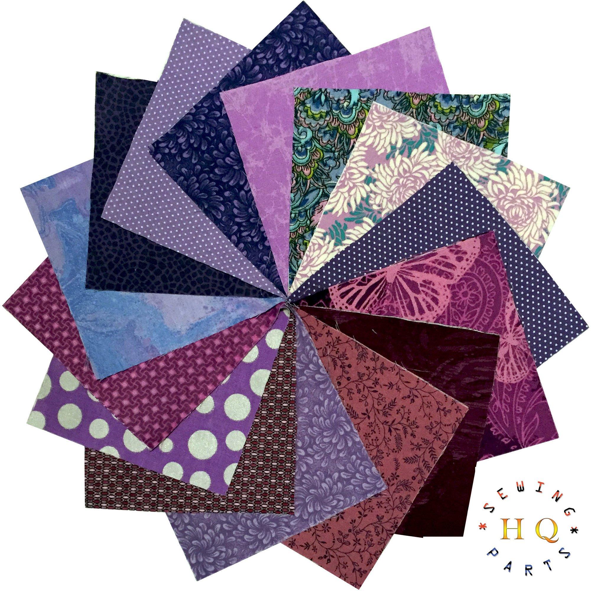 30 x morado lila Patchwork cuadrados de tela Charm Pack Bundle ...