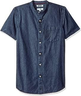 Amazon Brand - Goodthreads Men's Slim-Fit Short-Sleeve Band-Collar Denim Shirt