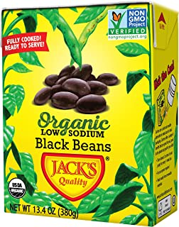 Jack's Organic Black Beans (8 PACK) – Filled with Protein & Fiber, Heart Healthy, Low Sodium, Non GMO, BPA Free, Ready-to-...