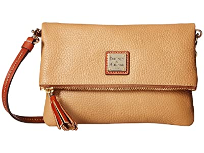 Dooney & Bourke Pebble Fold-Over Zip Crossbody (Desert w/ Tan Trim) Cross Body Handbags