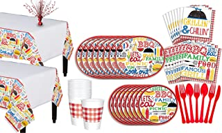 Party City BBQ Picnic Party Pack for 18 Guests, 196 Pieces, Includes Plate, Napkins, Cups, Utensils, and a Centerpiece