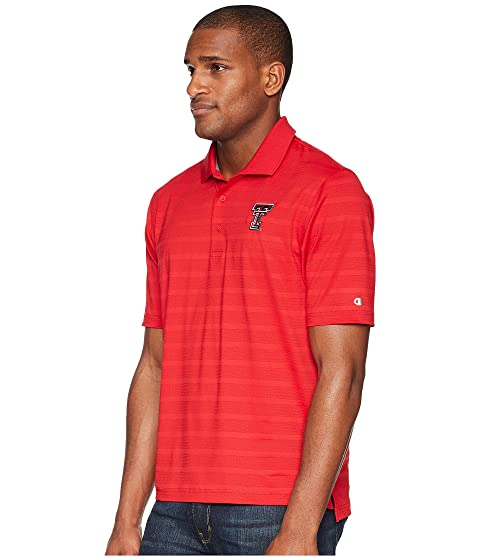 Textured Raiders Tech Texas Solid Red College Scarlet Polo Champion w7Faq6Uxx