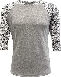 Sports Adult & Kids Raglan Shirt Printed Sleeves Athletic Jersey Soccer Volleyball Basketball Football