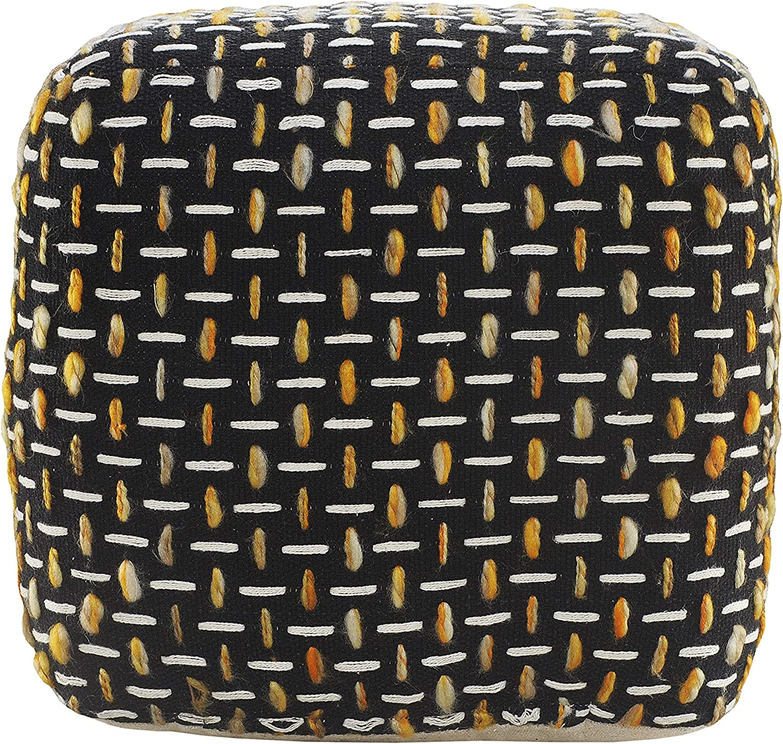 LR Home latest Modern Max 68% OFF Interwoven Geometric Pouf White Black Gold 16