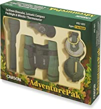 Carson AdventurePak Containing 30mm Kids Field Binoculars, Lensatic Compass, Flashlight and Signal Whistle with a Built-in Thermometer (HU-401)