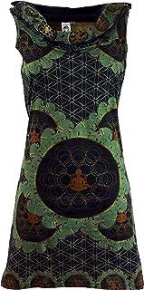 GURU SHOP Kapuzen Mandala Minikleid, Goa Festivalkleid, Damen, Baumwolle, Kurze Kleider Alternative Bekleidung
