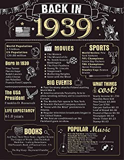 80 Years Ago Birthday or Wedding Anniversary Poster 11 x 14 Party Decorations Supplies Large 80th Party Sign Home Decor for Men and Women (Back in 1939-80 Years)