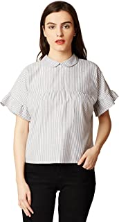 Miss Chase Women's Grey and White Striped Top