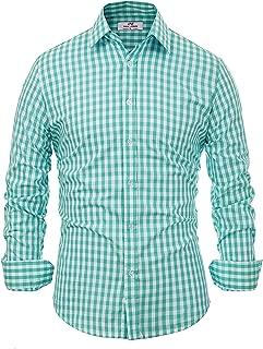 Paul Jones German Bavarian Oktoberfest Dress Shirt Checkered Button Down Shirt