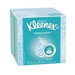 Kleenex Lotion Facial Tissues, Cooling, Coconut Oil, Vitamin E, Cube Box, 45 ct