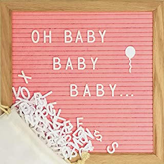 Pink Felt Letter Board Set with 10 x 10 inch Oak Frame, 374 Precut Letters and Emojis, Cursive Words, Wall Hook - Perfect Message Sign for Girl Baby Shower Decorations